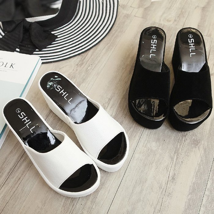 厚底涼 拖鞋 正韓版拖鞋女夏時尚防滑厚底坡跟一字拖2018新款韓版室外松糕高跟涼拖鞋7-20