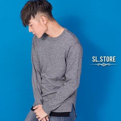 SL Store【DA022】MIT長版假兩件前短後長開叉針織T.丈青/白/黑/灰/M/L/XL