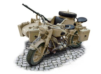 ITALERI 1/9 德軍 Military Motorcycle with side car (7403)