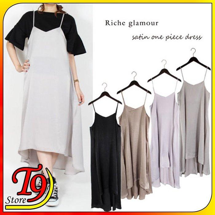 【T9store】日本進口 復古緞面背部繫帶卡米連衣裙
