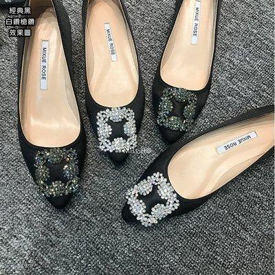 MB02-高質感手工訂製鞋-璀璨進口捷克雪花鑽水鑽奢華綢緞尖頭平底鞋MB款