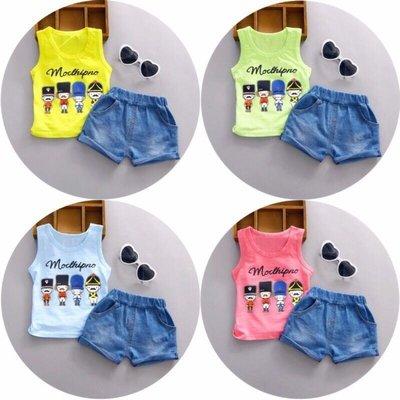 【現貨-E3009】1-3歲男女小童夏季無袖背心套裝(上衣+牛仔短褲)