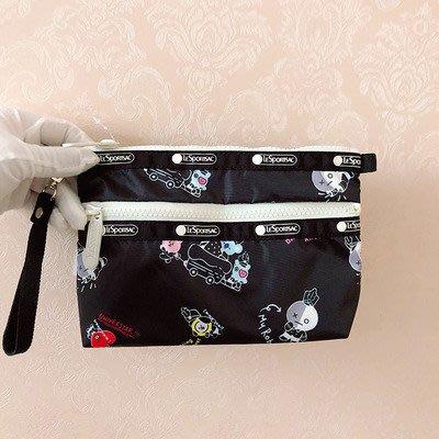 凱莉代購  LeSportsac 7105 BT21黑色 雙層拉鍊 降落傘防水 化妝包 收納包 手拿包