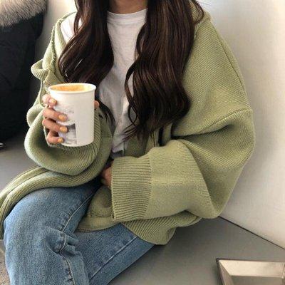 針織衫秋季韓版chic寬鬆口袋拉練加厚針織衫長袖毛衣學生開衫上衣外套女