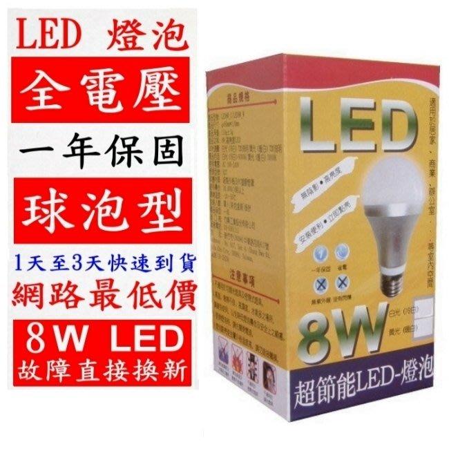 有現貨-8W LED燈泡-限時特價 50元-超節能-LED 8W 省電燈泡-球泡燈-白光(只剩白光)20顆可免運費
