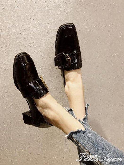 「免運」鞋子女新款秋季百搭復古方頭網紅高跟小皮鞋韓版學生粗跟單鞋 『菲菲時尚館』