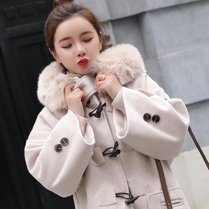 毛呢外套 牛角扣呢子大衣女中長款 韓版學生中長款外套 毛呢外套—莎芭