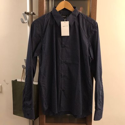 agnes b 黑色白點襯衫,40號適合177-183CM,全新只有一件~
