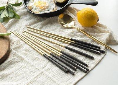 哆啦本鋪 不銹鋼黑金筷子 食具 韓式筷子 北歐西餐餐具高檔 D655