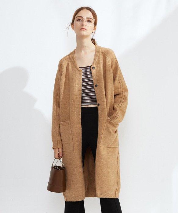 正韓長版大衣 外套 罩衫 上衣 毛衣 針織  女生衣著  韓版 衣服 女裝 開衫外套 加厚 保暖 復古 簡約 韓妞