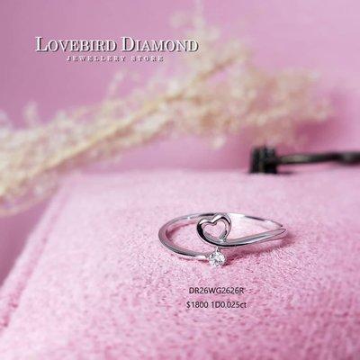 18k白金天然鑽石戒指💓 lovebird diamond 💓