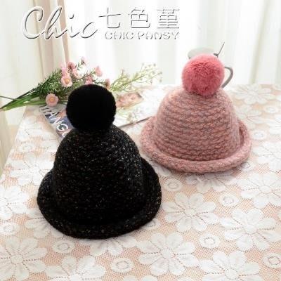 寶寶加厚毛球毛線帽子兒童韓版保暖針織帽...