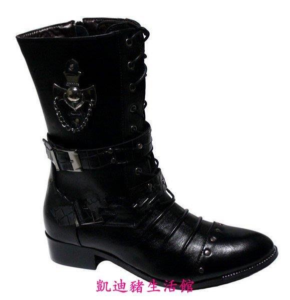 【凱迪豬生活館】新款棉男靴子時尚靴韓版潮流英倫長靴馬丁靴男軍靴鉚釘靴尖頭高幫KTZ-200974