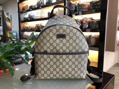 ::MINI名牌精品店:Gucci  271327 GG Supreme 後背包 防水 咖啡色 背帶  98新