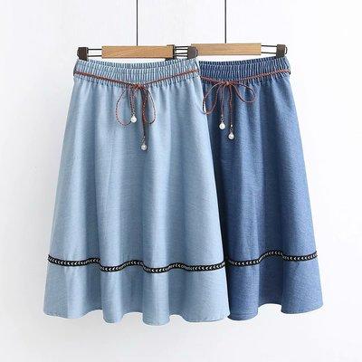 【47480】裙子  日系森女系珍珠繫帶寬鬆牛仔裙☆*藍荳荳小舖*☆(少量現貨)