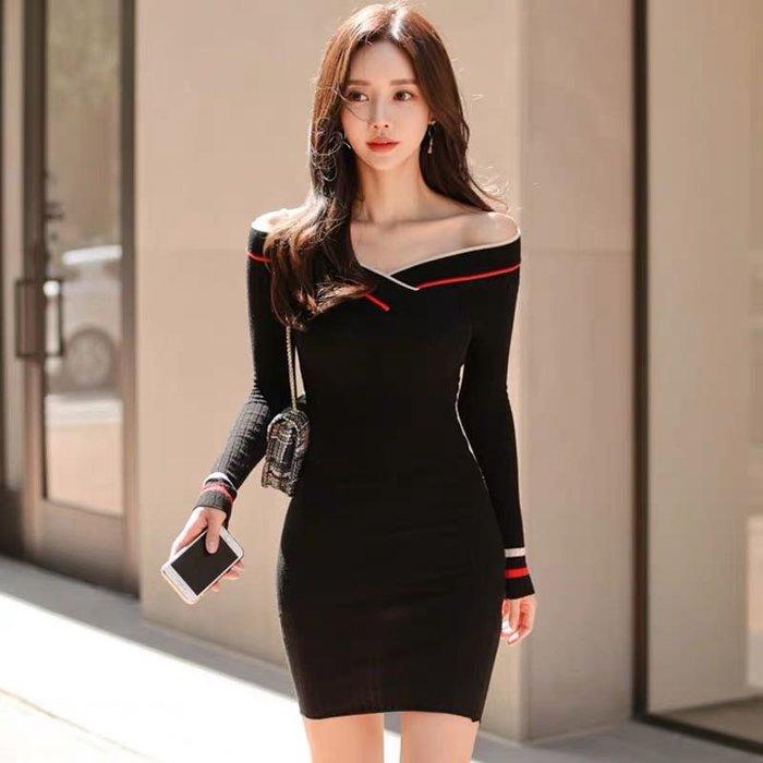 韓版氣質針織連身裙洋裝包臀短裙
