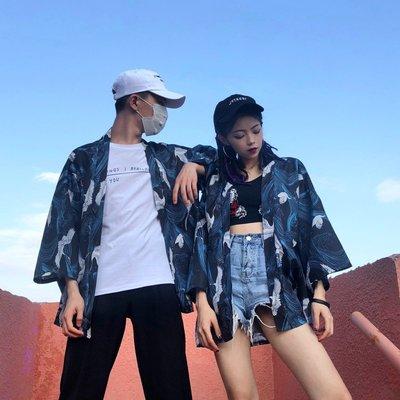 Freedom.~情侶襯衣夏日系寬松街頭男女情侶薄款開衫改良和服襯衫外套學生潮