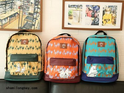 HAPPY+【V5325】moomin 姆明亞美卡通帆布包雙肩包 休閑書包背包