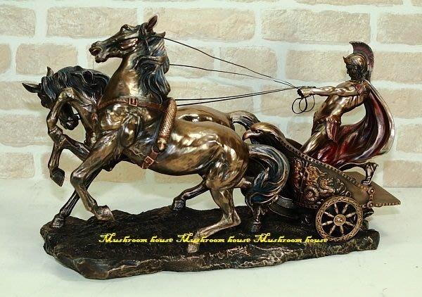 點點蘑菇屋 {希臘神話雕像擺飾}大型義大利進口仿銅雕塑~羅馬武士拉雙馬戰車 /戰士(免運)