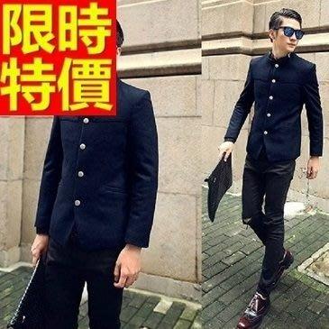 中山裝 唐裝 男外套-韓版毛呢中國風男西裝外套2色65e38[獨家進口][米蘭精品]