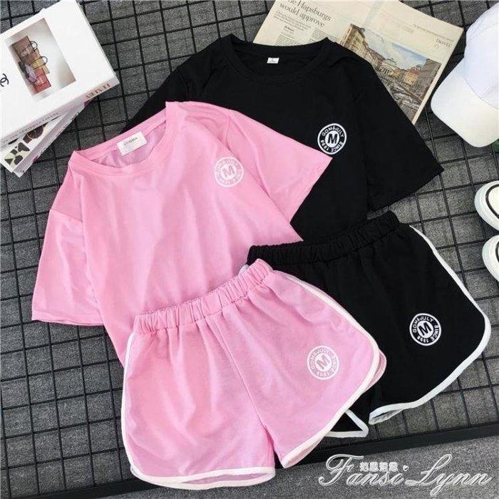 新款寬鬆ins學生短褲套裝女夏 韓版休閒bf跑步運動服兩件套潮 一件免運