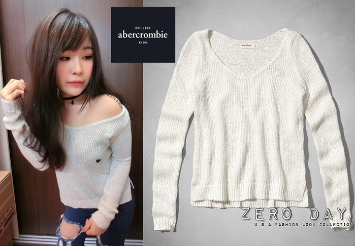 a&f abercrombie&fitch girl supersoft shine v-neck sweater毛衣白
