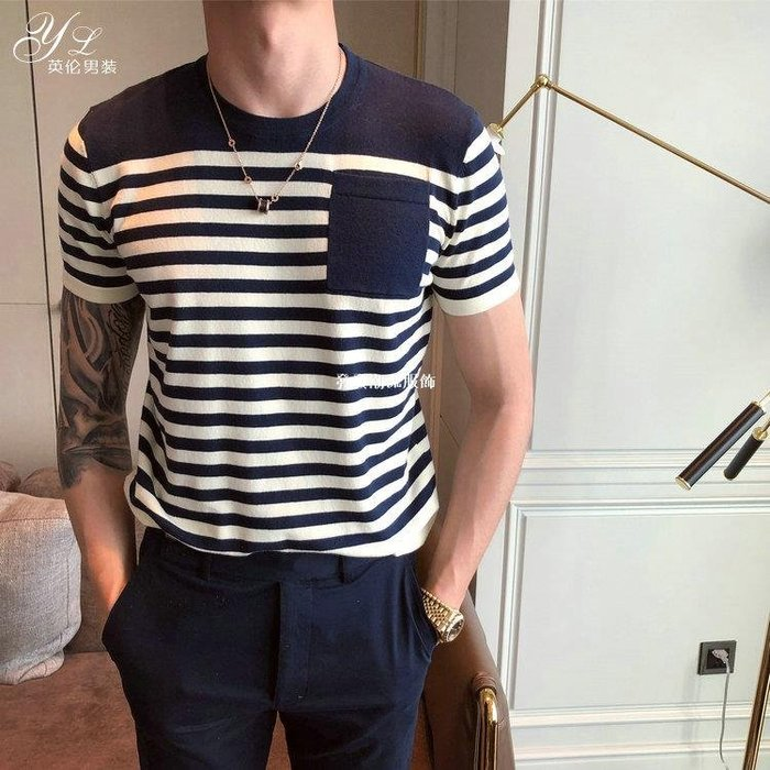 發發潮流服飾韓國東大門男裝香港小清新條紋圓領短袖針織衫T恤男正韓青年打底