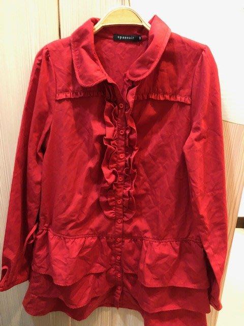 小花別針、專櫃品牌【epanouir】紅色長版襯衫式外套連身裙