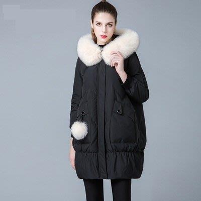 羽絨 外套 連帽夾克-狐狸毛領純色寬鬆中長版女外套3色73um4[獨家進口][米蘭精品]