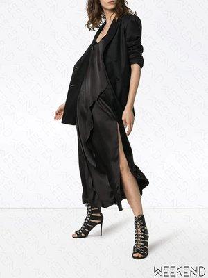 【WEEKEND】 MATERIEL 低胸 細肩帶 側邊開衩 連身裙 長洋 黑色