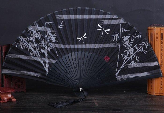 日式折扇中國風禮品真絲竹扇子日式和風扇蝴蝶櫻花扇舞蹈道具扇(第8區)--贈送市價50元的精美扇套