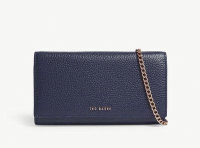 (預購)(兩色)Ted Baker grained leather matinee purse 皮革鏈帶側背包