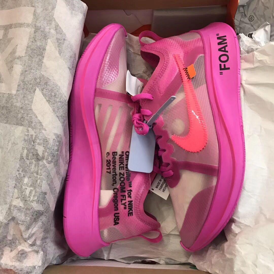 [預購現貨粉紅us4.5賣場] Nike Zoom Fly Off-White pink 限量聯名款 藍標