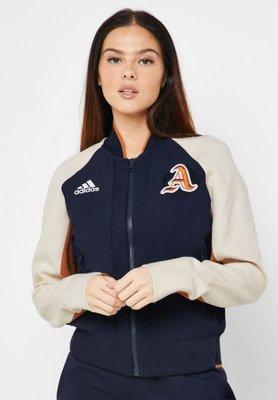 =E.P=ADIDAS VRCT Jacket 立領外套 女生 復古 運動外套 明星款 拼接 米白 DX8420