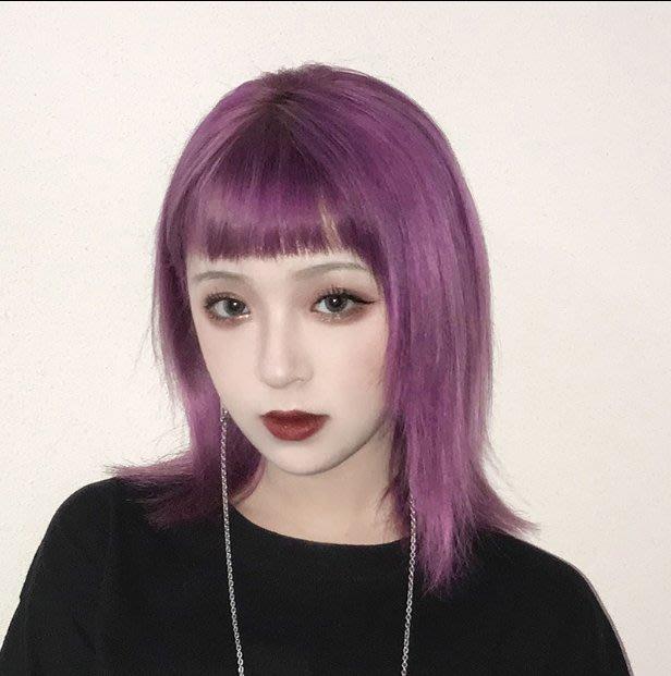 Q806-紫色假髮女中長髮全套長直發鎖骨發網紅短髮減齡全頭套式整頂發套#新發色假發#