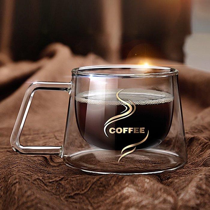 聚吉小屋 #歐式復古玻璃杯帶把隔熱雙層咖啡杯方克杯 時尚方克杯耐高溫茶杯