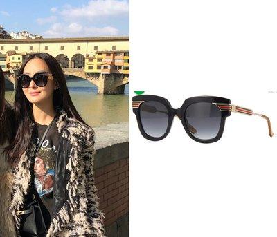 《Patty》美國代購孫芸芸戴的 Gucci 新款灰色漸層片紅綠線條鏡腳太陽眼鏡