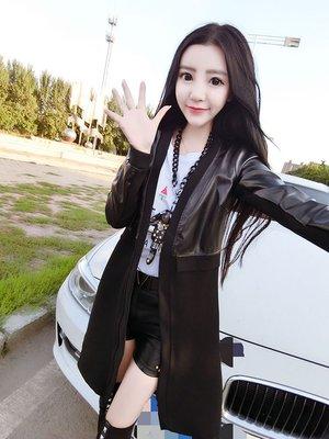 Color Fashion秋季韓版時尚氣質個性外套中長款黑色皮衣女裝夾克女衣韓系 G825117