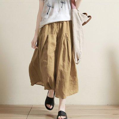 花間度 悠然  棉麻風格寬褲裙 設計感休閑寬松亞麻闊腿褲
