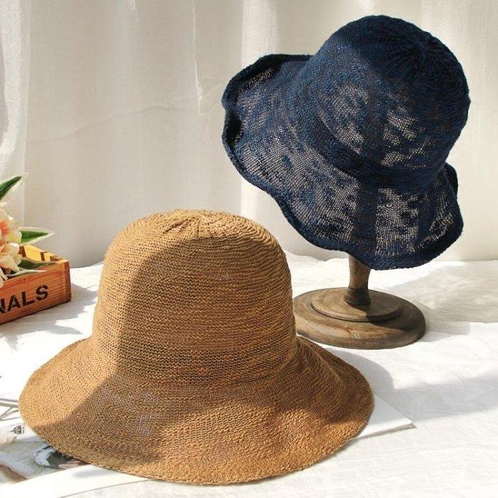 漁夫帽女夏正韓日系涼帽防曬遮陽帽文藝百搭時尚太陽帽子針織盆帽
