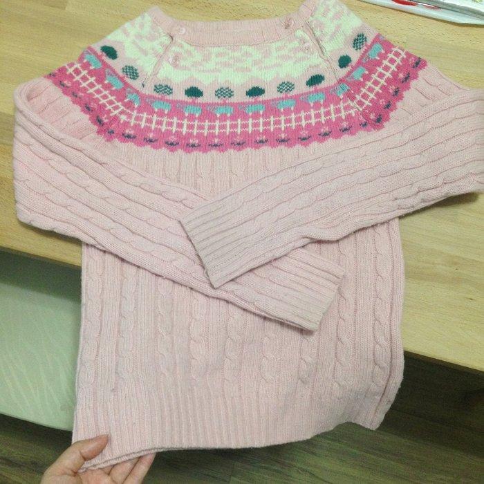 二手 圓領粗織復古毛衣