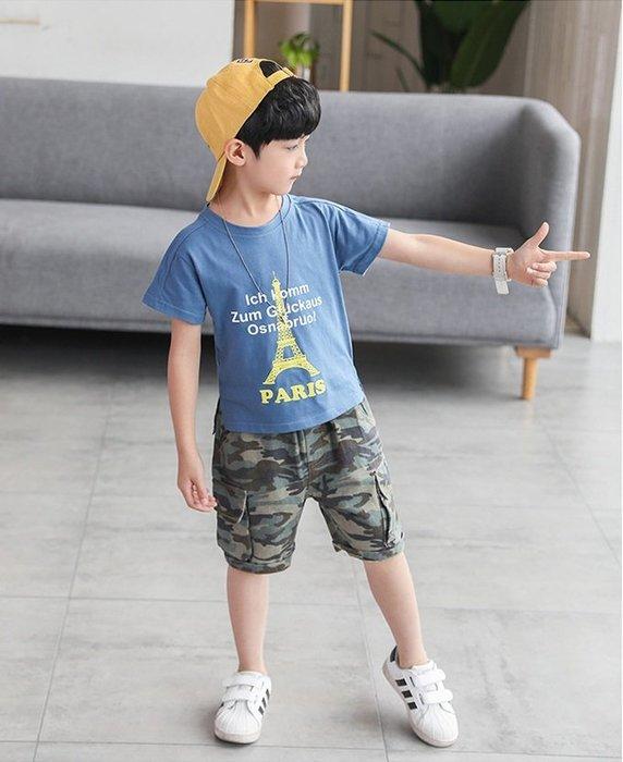 日韓歐美♥韓版 男童 中大款個性鐵塔短t+迷彩褲 大口袋短褲 兩件式套裝組     【E889】