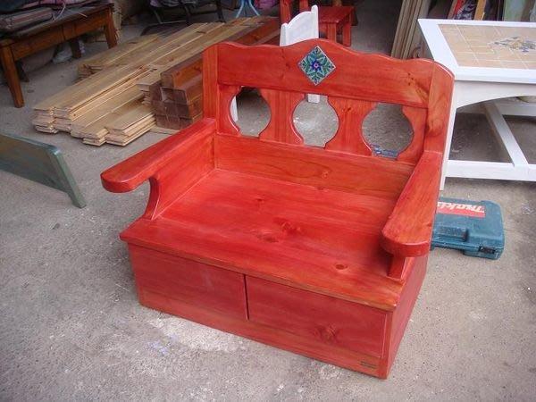 原木工坊~室內室外設計規劃  鄉村風家具手作  桃紅單人收納沙發