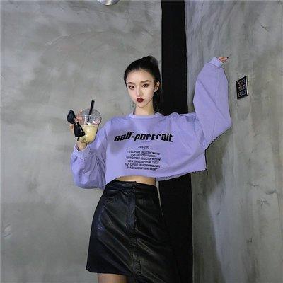 2018新款韓版原宿露臍短款寬松百搭嘻哈怪味少女學生 長袖衛衣女