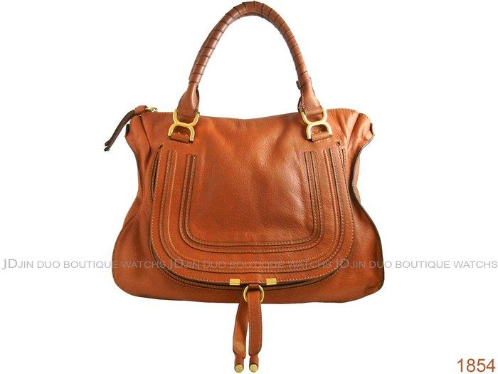 金鐸精品~1854 Chloe Marcie Bag 焦糖色小牛皮 手提肩背包 大馬鞍包