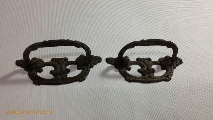 早期老件收藏~《銅製 金屬把手 抽屜把手 老櫃子抽屜把手》一對合售 【CS 超聖文化讚】