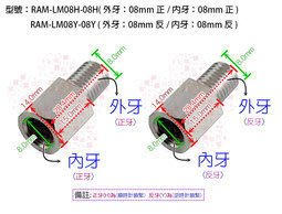 【尋寶趣】車鏡 後視鏡 後照鏡 螺絲 M8 8mm 加高螺絲 轉接座 增高座 車鏡轉換螺絲 RAM-LM8