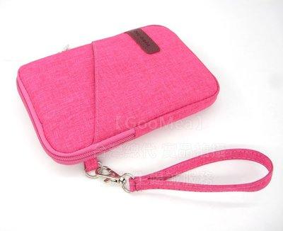 【GooMea】3免運 Samsung 三星 M11 6.4吋 拉鍊款 亞麻布 手拿袋 手拿 頸掛 玫紅
