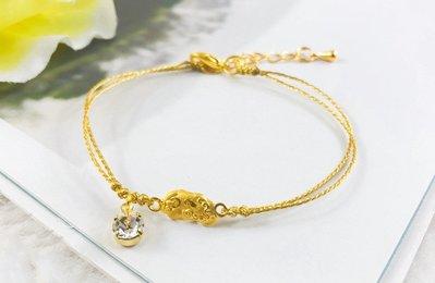 9999純黃金招財貔貅+水晶金絲繩手鏈