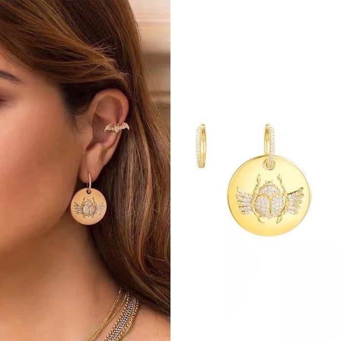 💎596、國家寶藏埃及聖甲蟲化石耳環(實拍)💎 水晶 鑽石 正韓 寶石